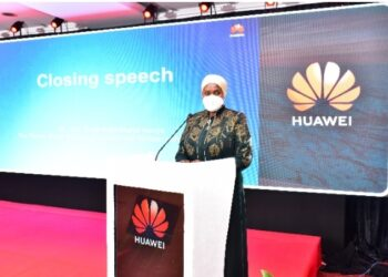 Third Deputy Prime Minister Rukia Nakaddama making her speech during the launch of Huawei ICT Competition