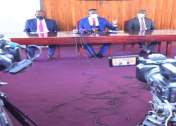 PUBLIC ACCOUNTS: Hon Medard Sseggona (L), Hon Joel Ssenyonyi and Hon. Martin Ojara Mapenduzi at the media briefing