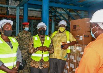Richard Todwong visiting Uganda Medical Stores in Entebbe