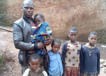 Sabiti Laban with his five children
