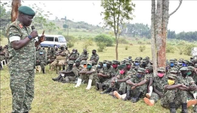 Brig Gen Bob Ogiki talking to UPDF troops