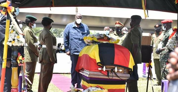 Gen Salim Saleh at the burial of Gen Paul Lokech in Pader district on Friday
