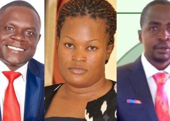 Ababaka Tebandeke Charles owe Ssaza lye Bbaale ku kkono, Aida Erios Nantaba wakati ne Fred Kayondo abawawabirwa mu kkooti enkulu