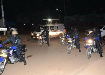 Police officers patrolling Masaka City on Wednesday night