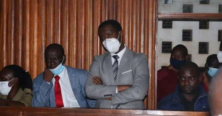 MPs Muhammad Ssegirinya and Allan Ssewanyana at Masaka Chief Magistrates Court on Tuesday