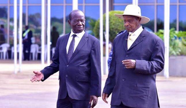 Former Vice President Edward Kiwanuka Ssekandi and President Museveni