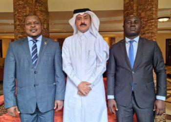 L-R: Ambassador Dr Yahya Rashid Ssemuddu, Qatari Ambassador H.E Al-Dosari and Next Media Chief Protocol Officer Pablo Bashir