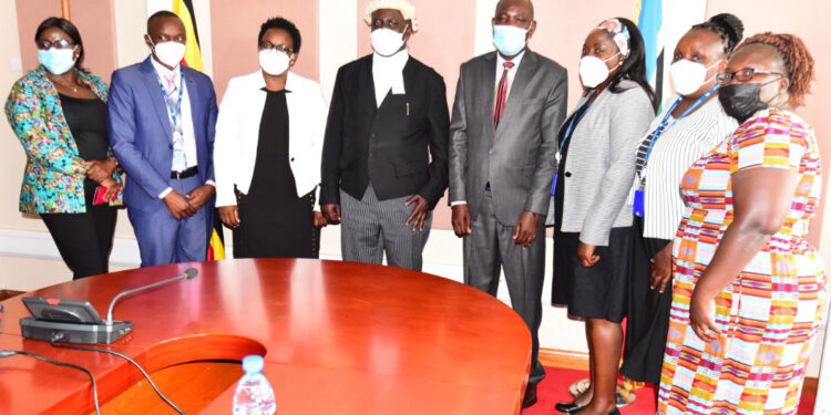 The Speaker of Parliament, Jacob Oulanyah, with representatives of UN Women.