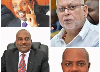 L-R: Keith Muhakanizi, Sudhir Ruparelia, Emmanuel Katongole and George Baguma
