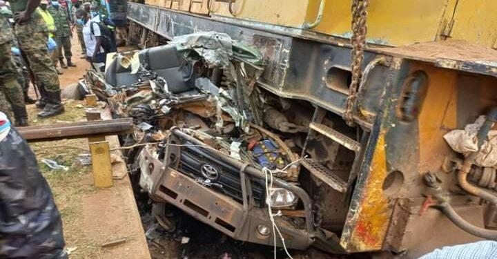 UPDF vehicle rams into train
