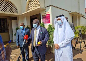 L-R: Ambassador Ssemuddu, Minister Katumba Wamala and Ambassador Al-Dosari