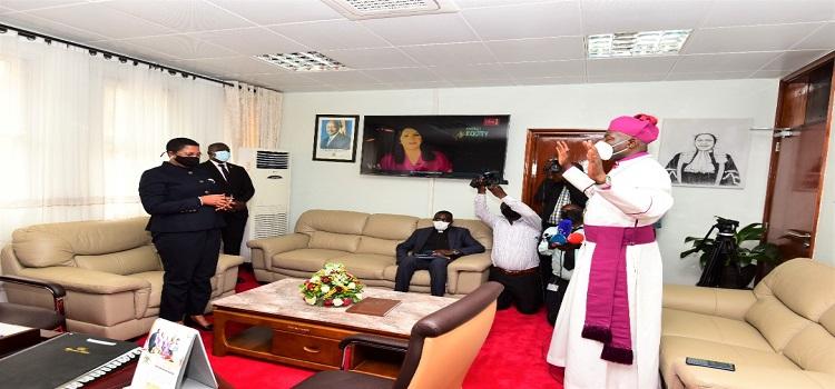 The Archbishop prays for the Deputy Speaker Anita Among