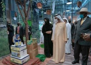 President Museveni with some officials from UAE at the Ugandan pavilion