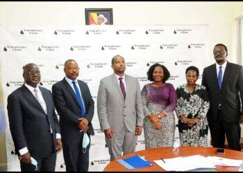 (L-R) Mr. Charles Felix Olarker, Mr. Steven Sherura Bainenaama, Dr. Joseph Kobusheshe, Ms. Peninah Aheebwa; Ms. Betty Namubiru; Mr. Dennis Kamurasi